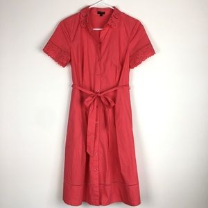 Talbots cotton shirt dress a-line belted